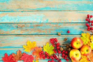 Pictures Autumn Apples Wood planks Template greeting card