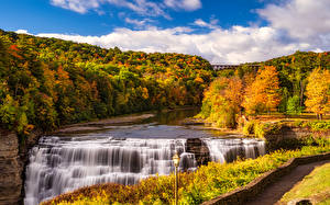 Photo Autumn USA Parks Waterfalls Forests Scenery Street lights Letchworth State Park Nature
