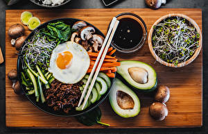 Wallpapers Avocado Mushrooms Fried egg Chopsticks Sliced food Bowl Cutting board Bibimbap Food