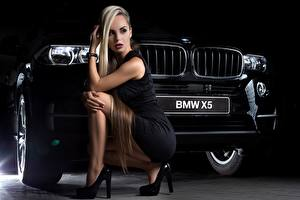 Wallpaper BMW Blonde girl Frock Sit Legs High heels Black x5 Girls Cars