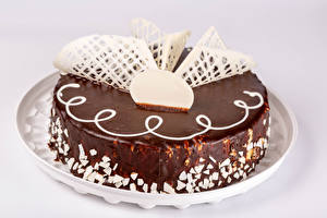 Pictures Cakes Chocolate Gray background Design Food