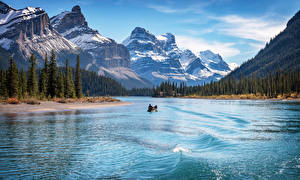 Wallpapers Canada Mountain Lake Boats Park Landscape photography Trees Jasper Park Lake Maligne, Alberta Nature