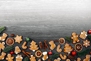 Fotos Neujahr Kekse Vorlage Grußkarte Zapfen Kugeln