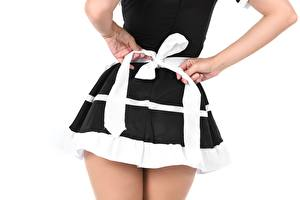 Images Closeup White background Back view Hands Bowknot Maid Skirt young woman