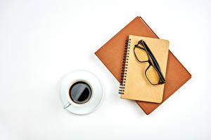 Wallpapers Coffee White background Cup Notepad Glasses Book