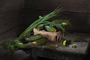 Tapety Ogórki Koperek zielone cebule Warzywa Jedzenie zdjęcia zdjęcie