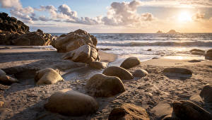 Desktop wallpapers England Coast Stone Sun Sand Porth Nanven Nature