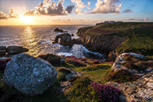 Wallpapers England Coast Stone Landscape photography Sea Clouds Cornwall Nature