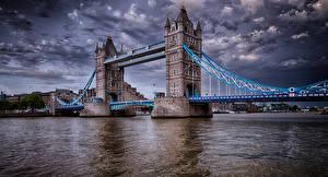 Bakgrunnsbilder England Elver Elv Broer London Tårn HDR en by