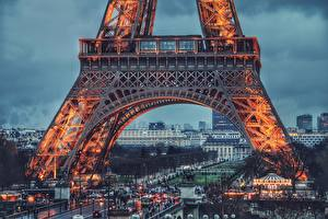 Pictures Evening Eiffel Tower Paris Cities