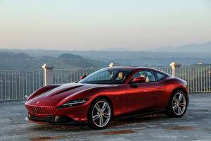 Picture Ferrari Coupe Wine color Metallic Roma, 2020 automobile