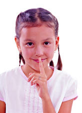 Picture Fingers Gestures White background Little girls Smile Staring child