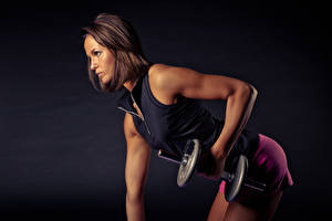 Wallpaper Fitness Brown haired Side Hands Dumbbells Workout Girls