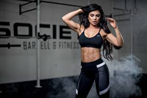 Wallpaper Fitness Posing Brunette girl Belly Hands young woman
