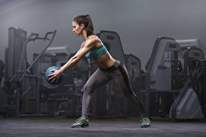 Image Fitness Uniform Workout Ball Hands Pose Legs young woman
