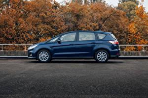 Papéis de parede Ford Azul Metálico Lateralmente Perua S-MAX, 2019 Carros imagens