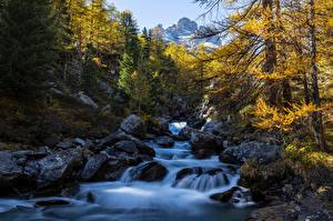 Picture France Autumn Mountains River Stone Alps Trees  Nature