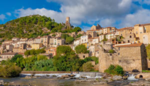 Image France Houses Coast Hill Roquebrun Cities