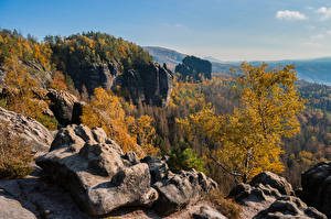 Wallpaper Germany Autumn Mountains Rock Trees Saxony Nature