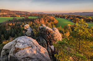 Pictures Germany Autumn Scenery Cliff Trees Saxony Nature