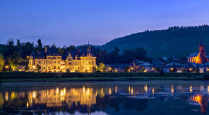 Pictures Germany Evening River Houses Castles Cochem