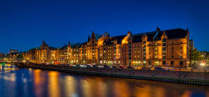 Images Germany Hamburg Evening Houses River Street Cities