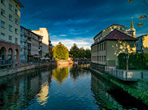 Desktop wallpapers Germany Houses Canal Pforzheim Cities