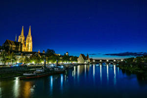 Pictures Germany Building Rivers Bridge Berth Riverboat Night time Regensburg Cities