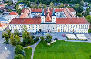 Hintergrundbilder Deutschland Kloster Gebäude Bayern Rasen Tegernsee Abbey