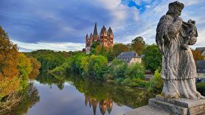 Pictures Germany River Autumn Cathedral Sculptures Tower Saint George's Cathedral, Hessen Cities