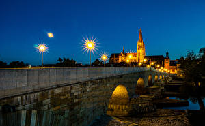 Picture Germany Rivers Bridges Houses Night Street lights Regensburg Cities