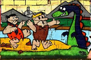 Images Graffiti Dragon Wall Flintstones