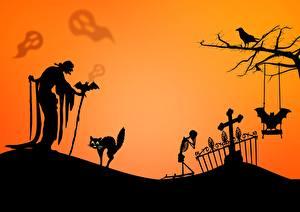 Pictures Halloween Cat Bats Graveyard Elderly women