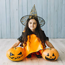 Photo Halloween Pumpkin Little girls Hat Glance child
