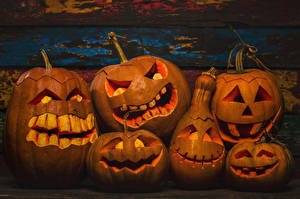 Photo Halloween Pumpkin Wood planks Teeth