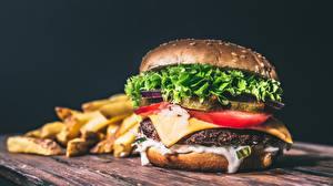 Fotos Hamburger Fast food Brötchen Hautnah