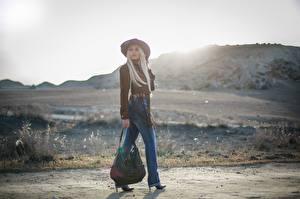 Pictures Handbag Bokeh Blonde girl Hat Legs Jeans Girls
