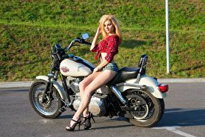 Desktop wallpapers Harley-Davidson Blonde girl Shorts Legs Stilettos Girls