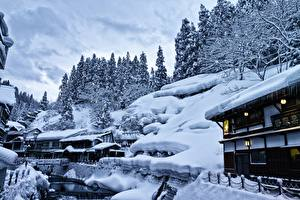 Pictures Houses Japan Snow Yamagata, Ginzan Onsen Cities Nature