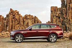 Fonds d'écran Hyundai Crossover Latéralement Bordeaux couleur Métallique Genesis GV80 2.5T, AU-spec, 2020 Filles