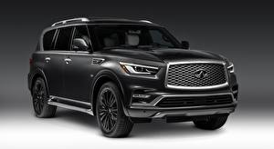 Fonds d'écran Infiniti Noir Sport utility vehicle QX80 5.6, Limited, 2018