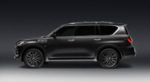 Pictures Infiniti Side Black Gray background Sport utility vehicle QX80 5.6, Limited, 2018 Cars