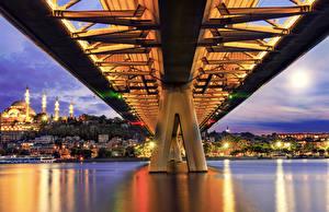 Wallpapers Istanbul Turkey Bridges Evening Houses Metro Bridge Cities