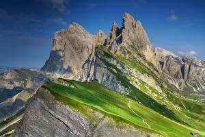 Images Italy Mountains Alps Rock Seceda, South Tyrol Nature