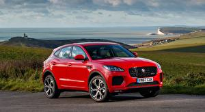 Fondos de escritorio Jaguar autos Rojo Crossover E-Pace, R-Dynamic, First Edition, UK-spec, 2017 Coches