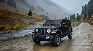 Wallpaper Jeep Rain Black Riding Wrangler, Unlimited Sahara, 2018