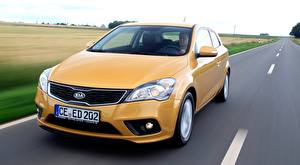 Pictures KIA Roads Riding Yellow Front Hatchback, pro ceed, EcoDynamics, 2011 automobile
