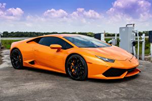 Hintergrundbilder Lamborghini Orange Huracan at NASA Porter 34 Casey J automobil