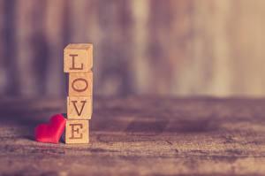 Bakgrundsbilder på skrivbordet Kärlek Bokeh Liten kub Hjärta Skrivet ord Engelsk Love