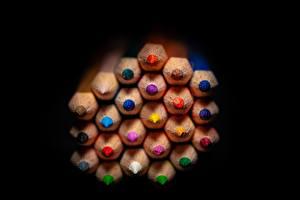 Image Many Closeup Black background Pencils Multicolor